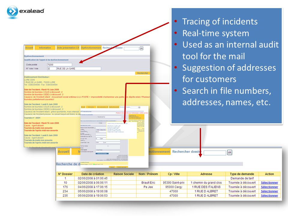 Tracing of incidents Real-time system Used as an internal audit tool for the mail Suggestion of addresses for customers Search in file numbers, addresses, names, etc.