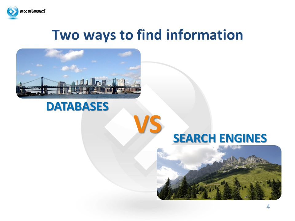 Two ways to find information 44 DATABASES SEARCH ENGINES VS