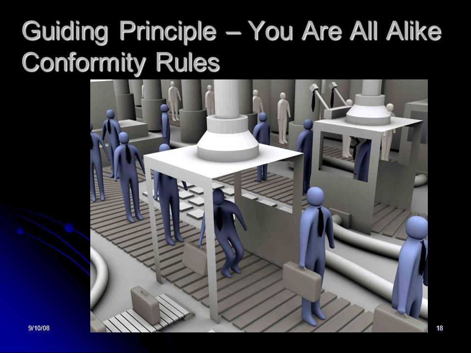 9/10/08DTS18 Guiding Principle – You Are All Alike Conformity Rules