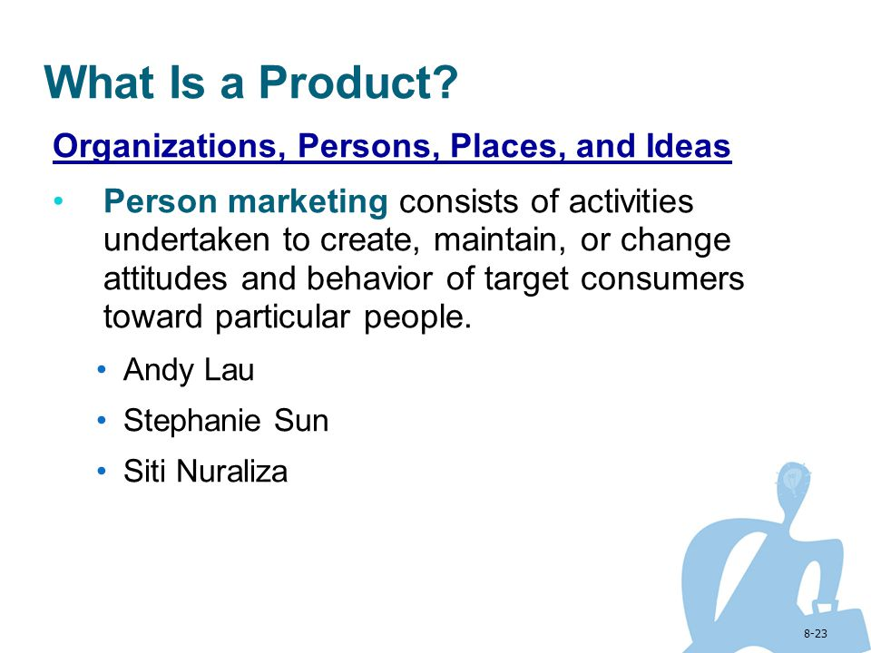 8-23 What Is a Product? Organizations, Persons, Places, and Ideas Person marketing consists of activities undertaken to create, maintain, or change at