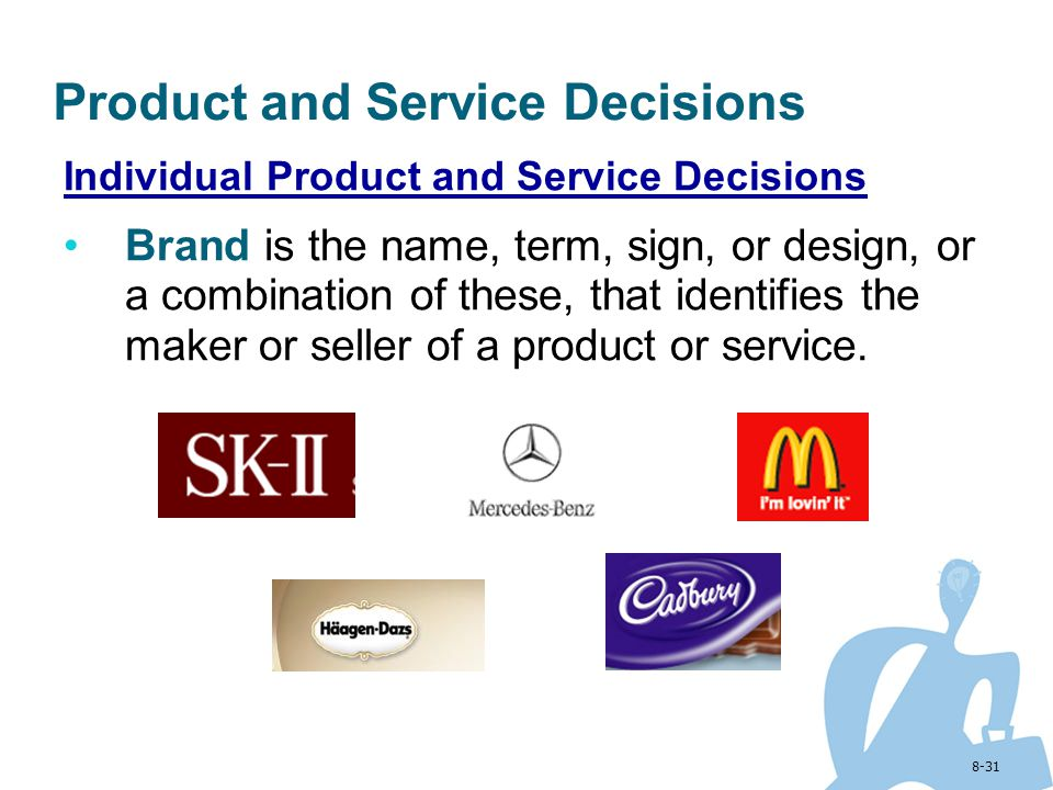 8-31 Product and Service Decisions Individual Product and Service Decisions Brand is the name, term, sign, or design, or a combination of these, that