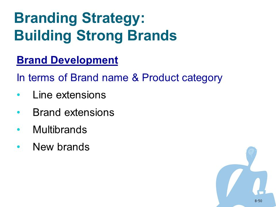8-50 Brand Development In terms of Brand name & Product category Line extensions Brand extensions Multibrands New brands Branding Strategy: Building S