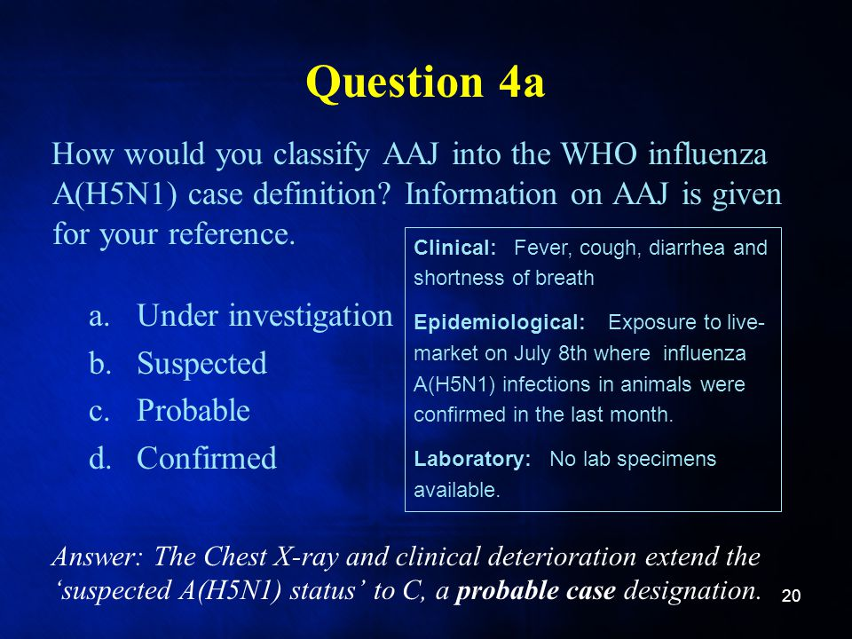 Question 4a How would you classify AAJ into the WHO influenza A(H5N1) case definition? Information on AAJ is given for your reference. a.Under investi