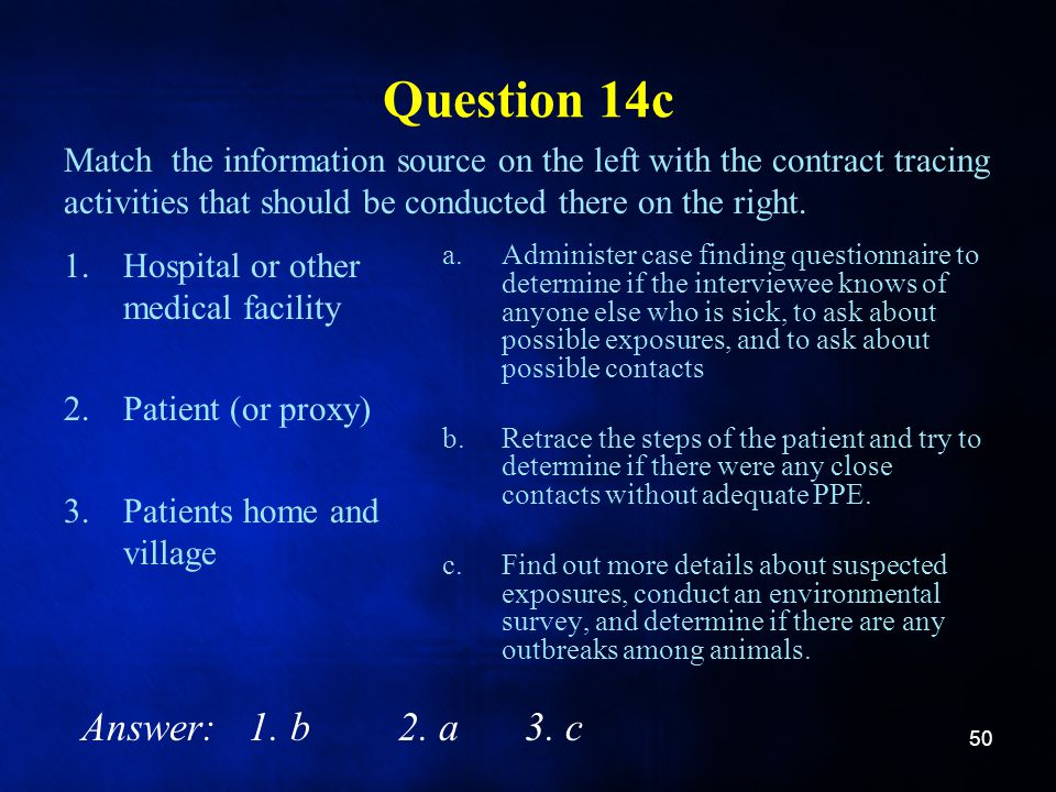 Question 14c 1.Hospital or other medical facility 2.Patient (or proxy) 3.Patients home and village a.Administer case finding questionnaire to determin