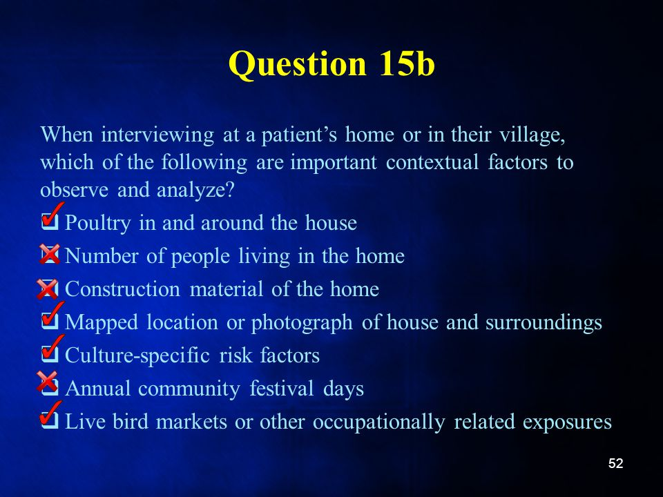 Question 15b When interviewing at a patients home or in their village, which of the following are important contextual factors to observe and analyze?