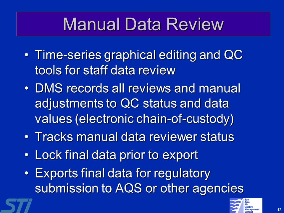 12 Manual Data Review Time-series graphical editing and QC tools for staff data reviewTime-series graphical editing and QC tools for staff data review
