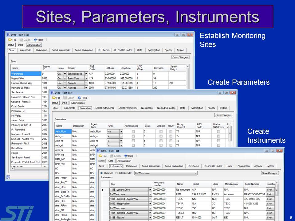 6 Sites, Parameters, Instruments Establish Monitoring Sites Create Parameters Create Instruments