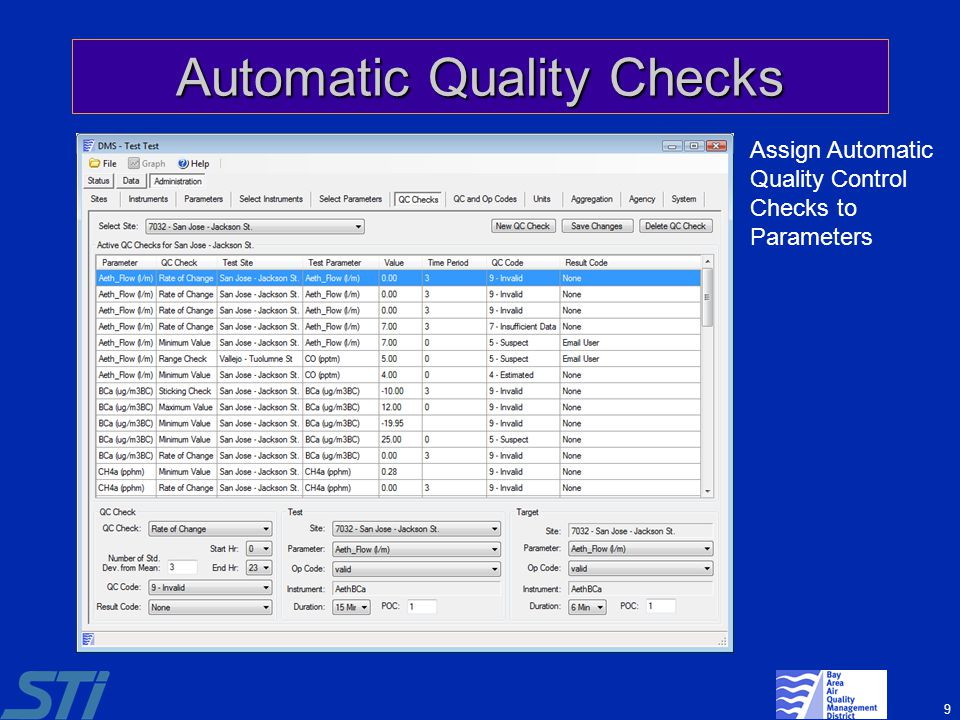 9 Automatic Quality Checks Assign Automatic Quality Control Checks to Parameters