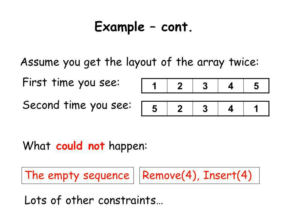 Example – cont. 12345 Assume you get the layout of the array twice: First time you see: Second time you see: 52341 What could not happen: The empty se