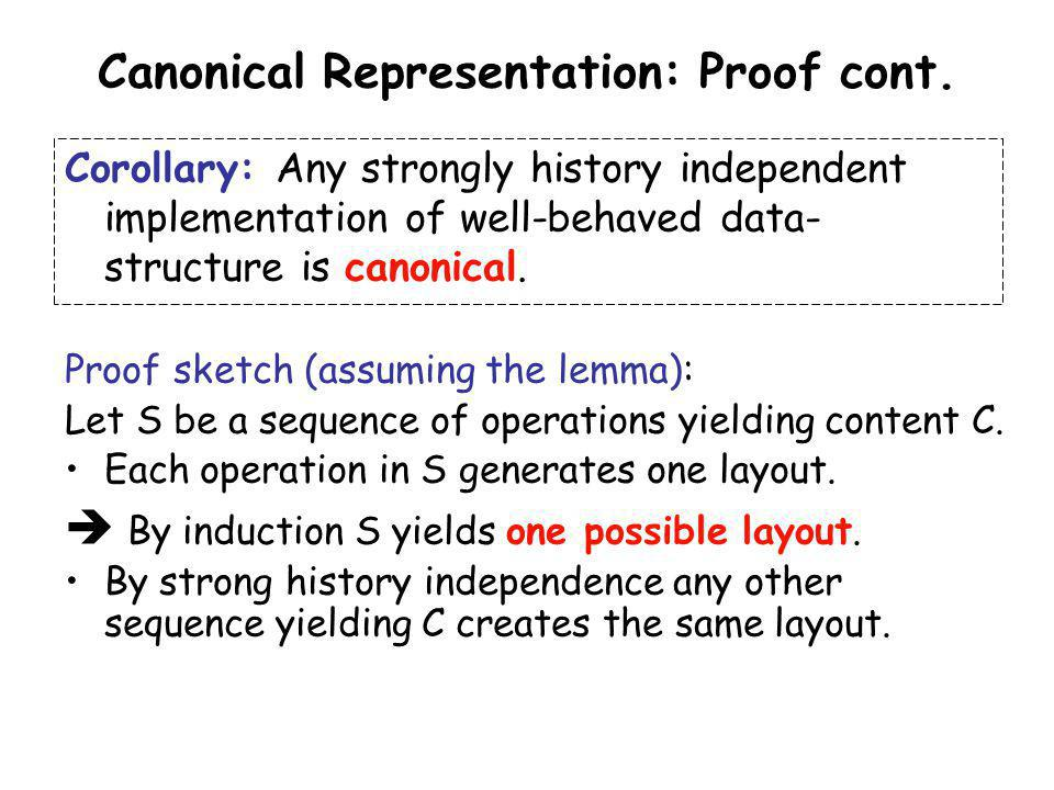 Canonical Representation: Proof cont. Corollary: Any strongly history independent implementation of well-behaved data- structure is canonical. Proof s