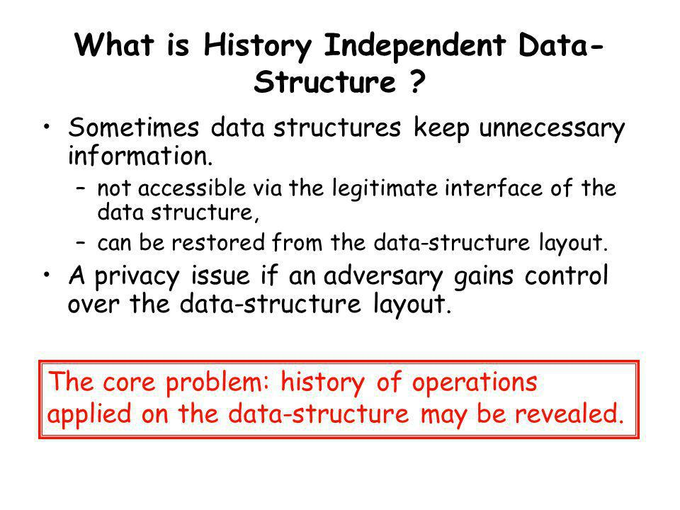 Our Results 1.Strong history independence implies canonical memory layout.