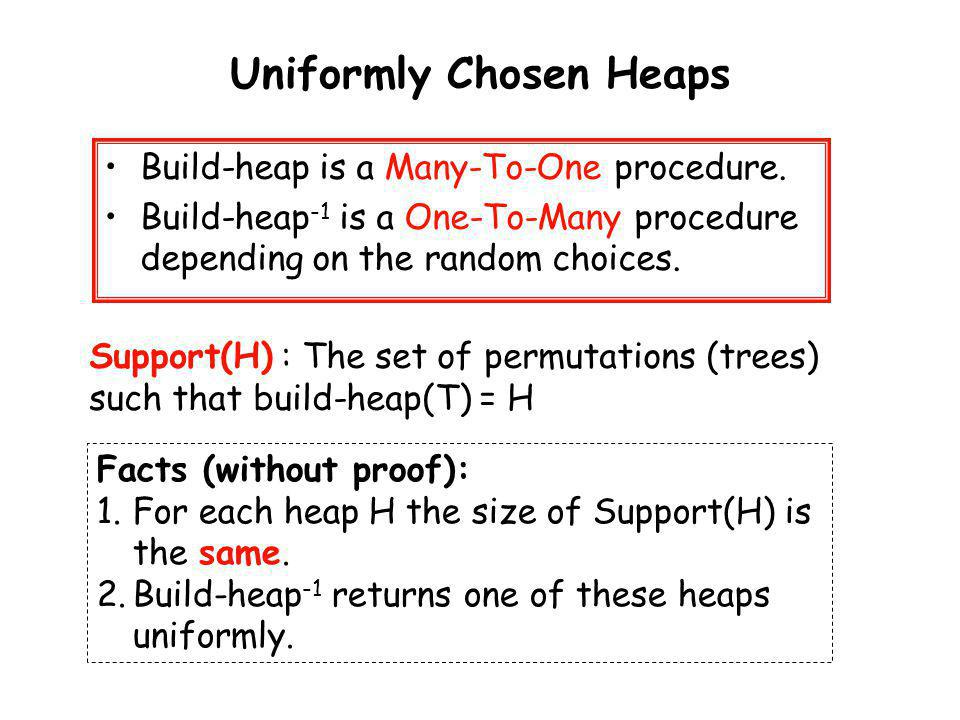 Uniformly Chosen Heaps Build-heap is a Many-To-One procedure. Build-heap -1 is a One-To-Many procedure depending on the random choices. Support(H) : T