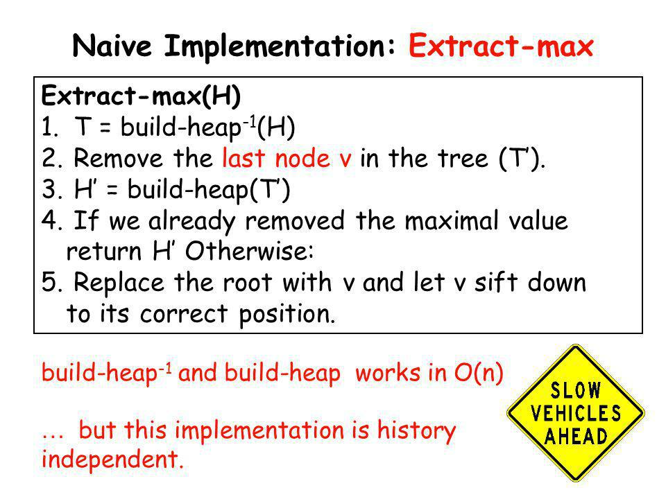 Naive Implementation: Extract-max Extract-max(H) 1. T = build-heap -1 (H) 2. Remove the last node v in the tree (T). 3. H = build-heap(T) 4. If we alr