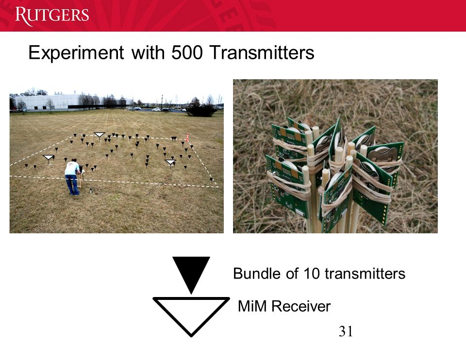 31 Experiment with 500 Transmitters Bundle of 10 transmitters MiM Receiver