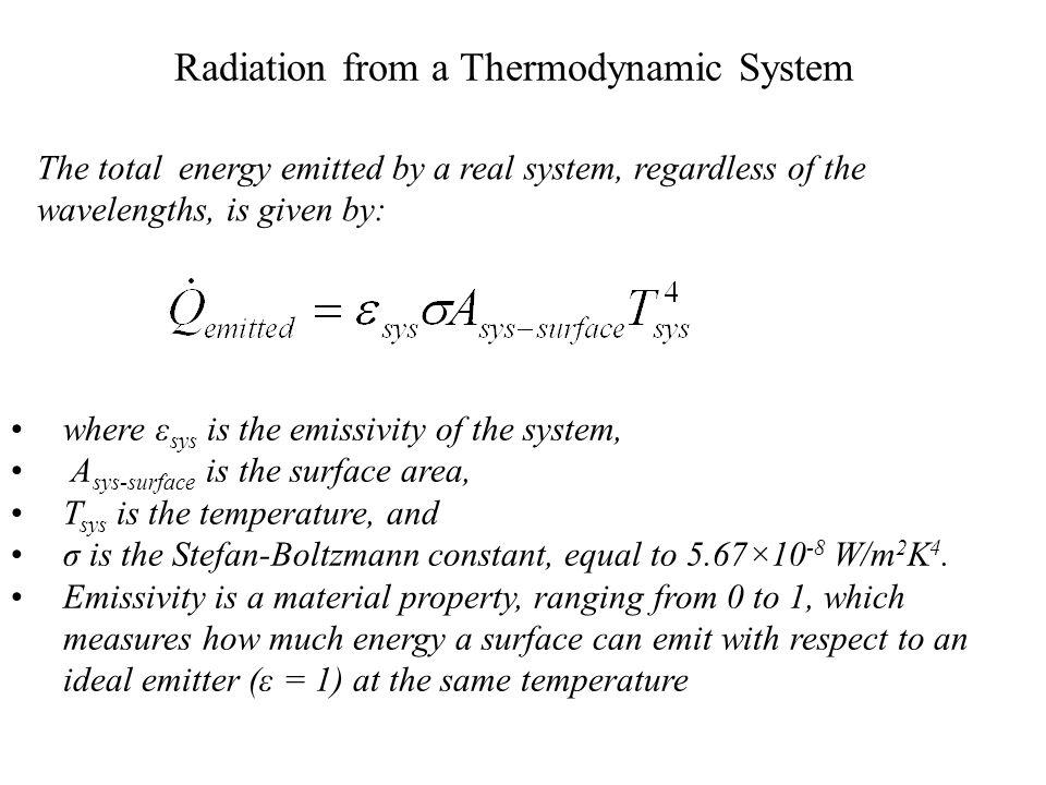 Stefan-Boltzmann Law The maximum emissive power at a given temperature is the black body emissive power (E b ).