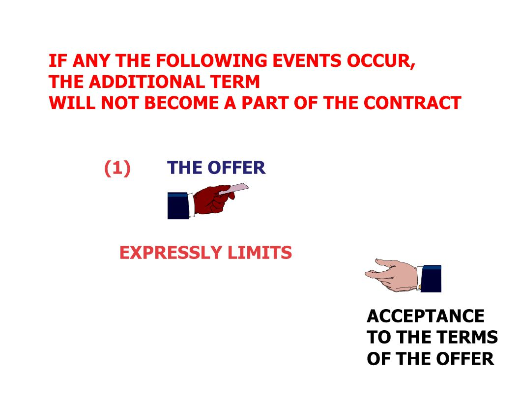 UNDER UCC 2-207(2) If the parties are merchants, The Additional Terms becomes A PART OF THE CONTRACT UNLESS CERTAIN THINGS OCCUR