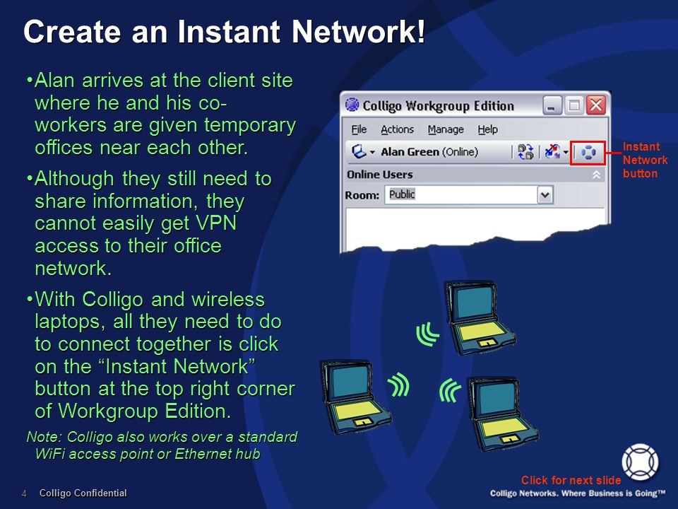Colligo Confidential 4 Instant Network button Create an Instant Network! Click for next slide Alan arrives at the client site where he and his co- wor