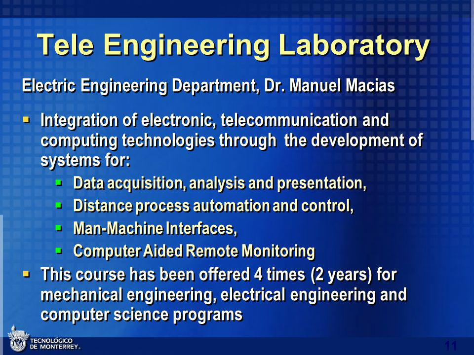 11 Tele Engineering Laboratory Electric Engineering Department, Dr.