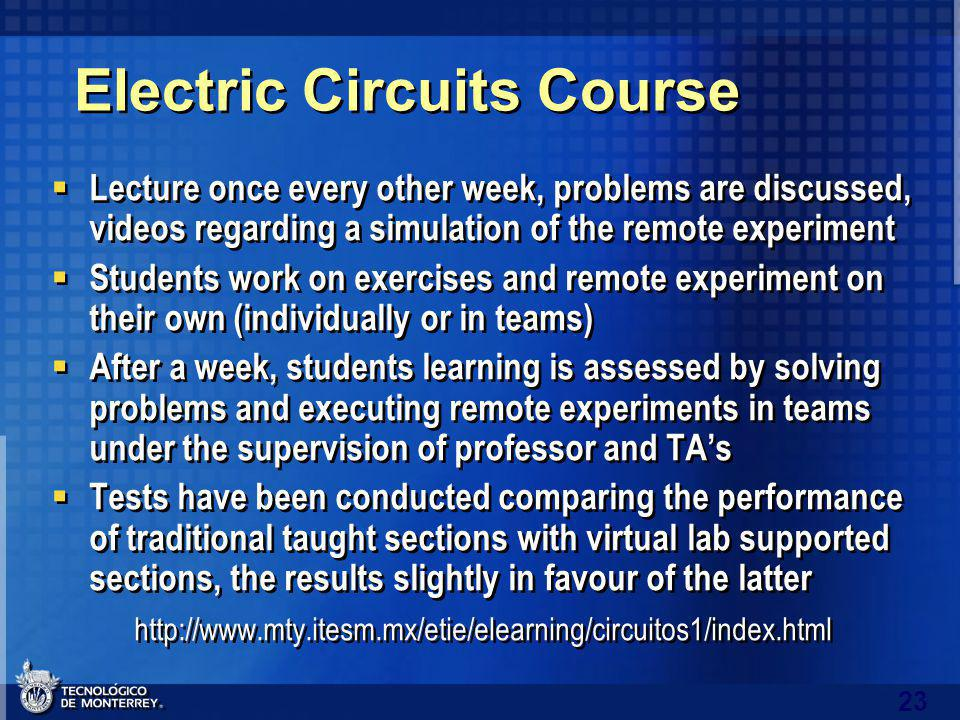23 Electric Circuits Course Lecture once every other week, problems are discussed, videos regarding a simulation of the remote experiment Students work on exercises and remote experiment on their own (individually or in teams) After a week, students learning is assessed by solving problems and executing remote experiments in teams under the supervision of professor and TAs Tests have been conducted comparing the performance of traditional taught sections with virtual lab supported sections, the results slightly in favour of the latter http://www.mty.itesm.mx/etie/elearning/circuitos1/index.html Lecture once every other week, problems are discussed, videos regarding a simulation of the remote experiment Students work on exercises and remote experiment on their own (individually or in teams) After a week, students learning is assessed by solving problems and executing remote experiments in teams under the supervision of professor and TAs Tests have been conducted comparing the performance of traditional taught sections with virtual lab supported sections, the results slightly in favour of the latter http://www.mty.itesm.mx/etie/elearning/circuitos1/index.html