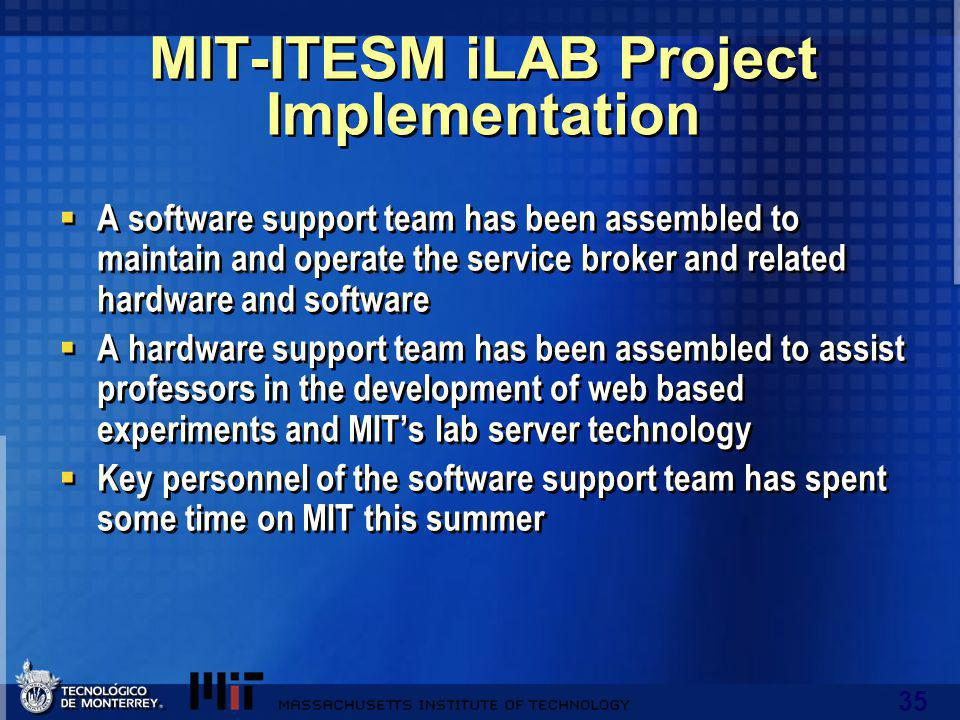 35 MIT-ITESM iLAB Project Implementation A software support team has been assembled to maintain and operate the service broker and related hardware and software A hardware support team has been assembled to assist professors in the development of web based experiments and MITs lab server technology Key personnel of the software support team has spent some time on MIT this summer A software support team has been assembled to maintain and operate the service broker and related hardware and software A hardware support team has been assembled to assist professors in the development of web based experiments and MITs lab server technology Key personnel of the software support team has spent some time on MIT this summer