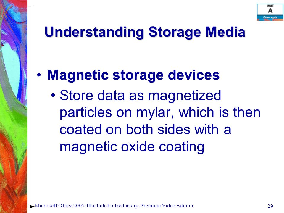 29 Microsoft Office 2007-Illustrated Introductory, Premium Video Edition Understanding Storage Media Magnetic storage devices Store data as magnetized particles on mylar, which is then coated on both sides with a magnetic oxide coating