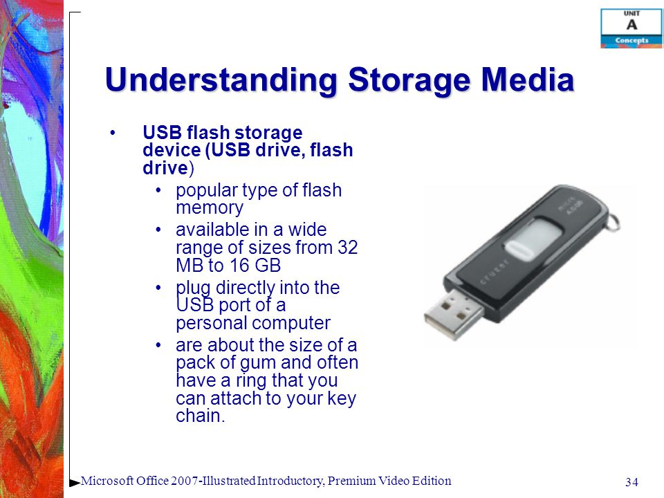 34 Microsoft Office 2007-Illustrated Introductory, Premium Video Edition Understanding Storage Media USB flash storage device (USB drive, flash drive) popular type of flash memory available in a wide range of sizes from 32 MB to 16 GB plug directly into the USB port of a personal computer are about the size of a pack of gum and often have a ring that you can attach to your key chain.