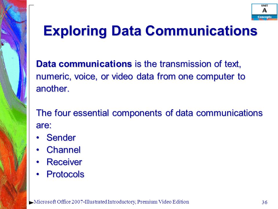 36 Microsoft Office 2007-Illustrated Introductory, Premium Video Edition Exploring Data Communications Data communications is the transmission of text, numeric, voice, or video data from one computer to another.