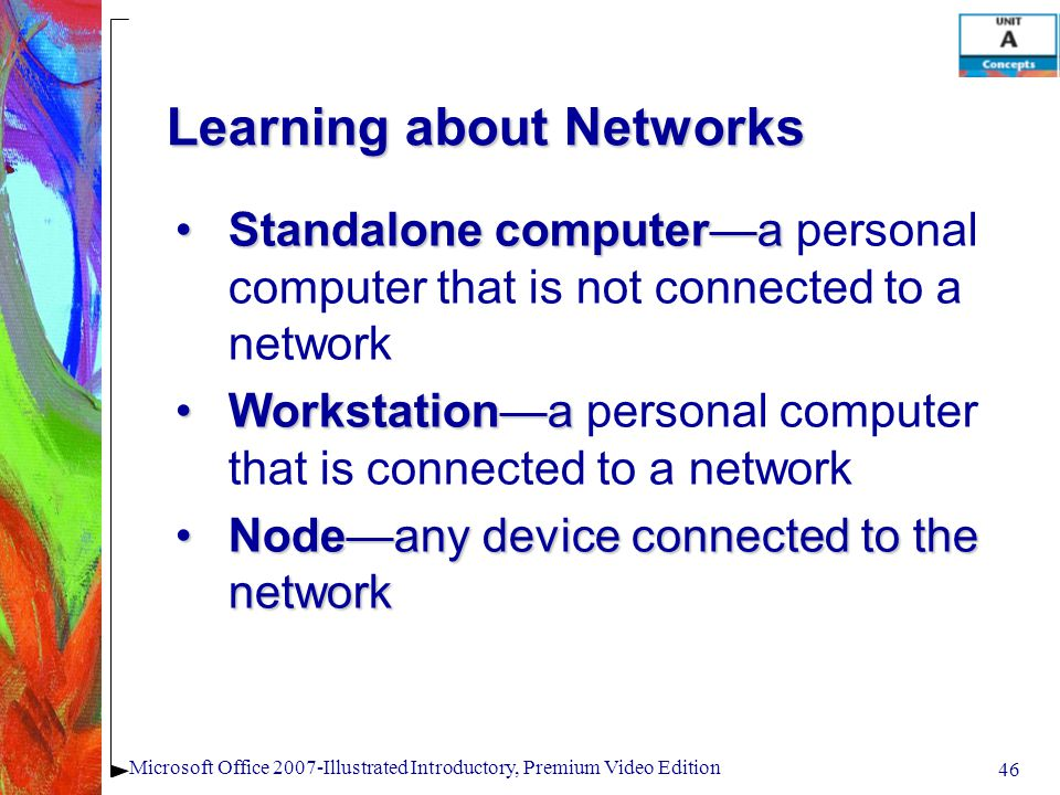 46 Microsoft Office 2007-Illustrated Introductory, Premium Video Edition Learning about Networks Standalone computeraStandalone computera personal computer that is not connected to a network WorkstationaWorkstationa personal computer that is connected to a network Nodeany device connected to the networkNodeany device connected to the network