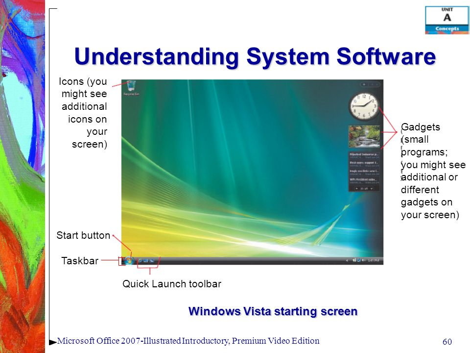 60 Microsoft Office 2007-Illustrated Introductory, Premium Video Edition Understanding System Software Windows Vista starting screen Icons (you might see additional icons on your screen) Start button Taskbar Quick Launch toolbar Gadgets (small programs; you might see additional or different gadgets on your screen)