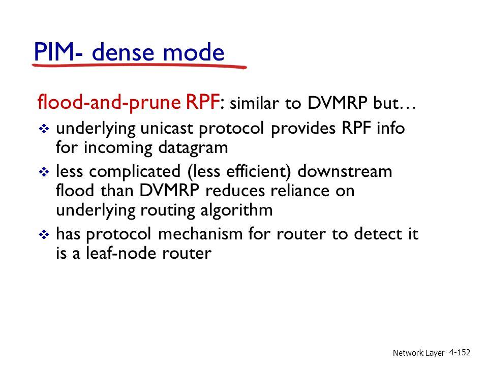Network Layer 4-152 PIM- dense mode flood-and-prune RPF: similar to DVMRP but… underlying unicast protocol provides RPF info for incoming datagram les
