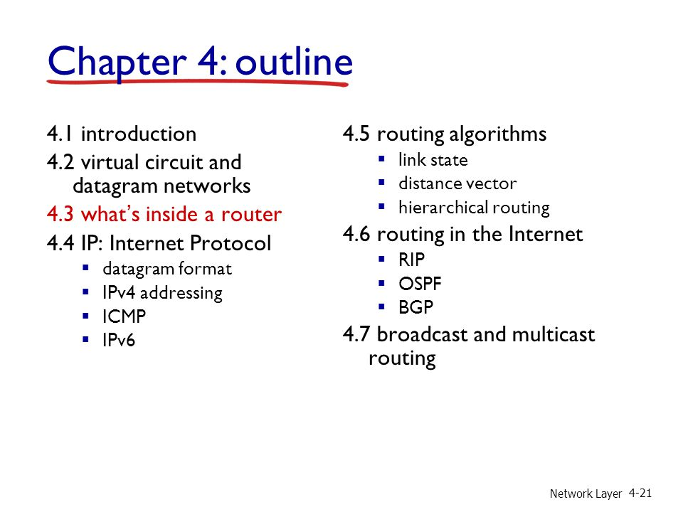 Network Layer 4-21 4.1 introduction 4.2 virtual circuit and datagram networks 4.3 whats inside a router 4.4 IP: Internet Protocol datagram format IPv4