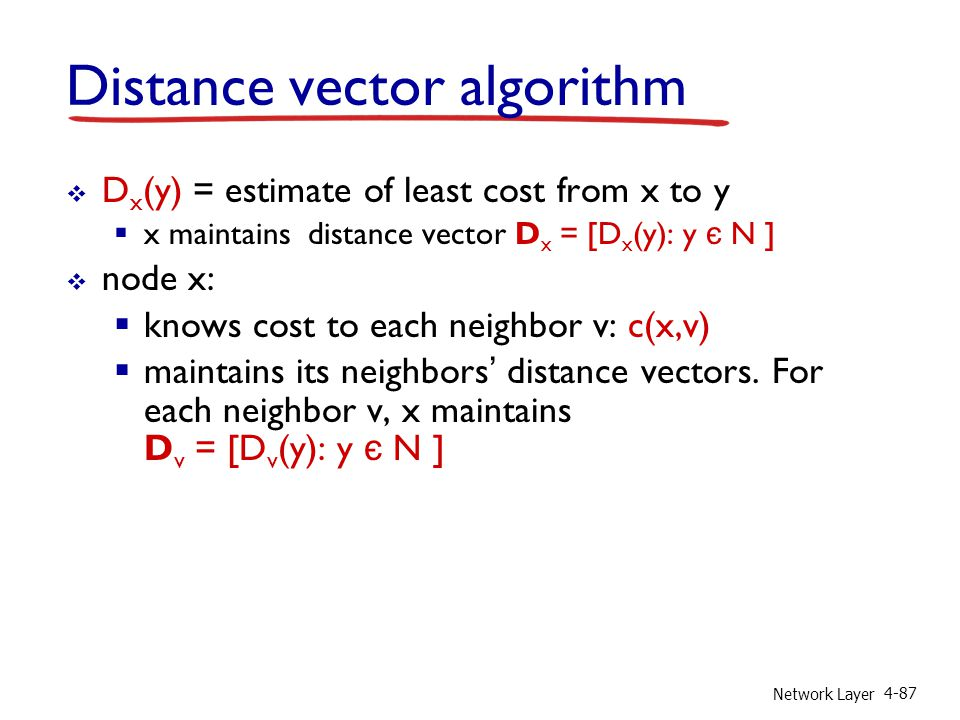 Network Layer 4-87 Distance vector algorithm D x (y) = estimate of least cost from x to y x maintains distance vector D x = [D x (y): y є N ] node x:
