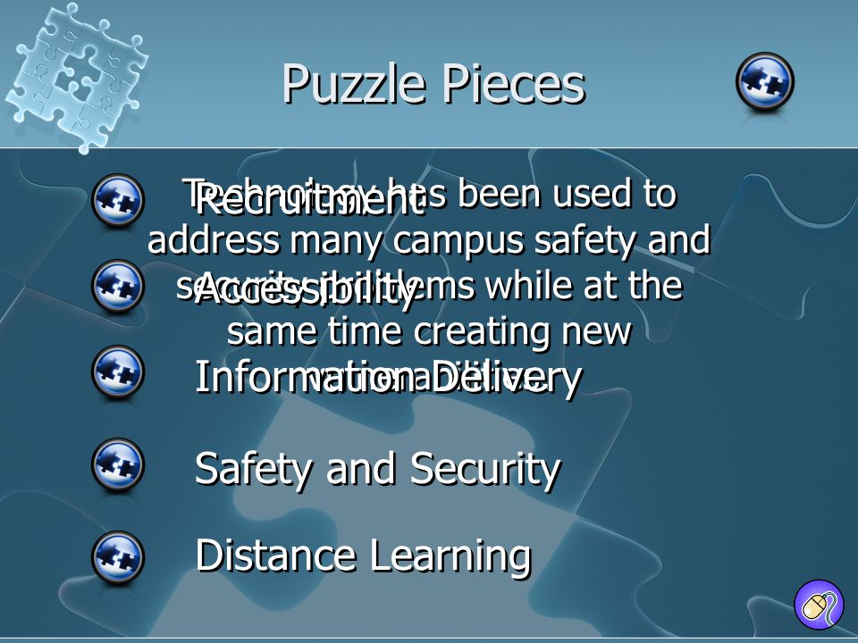 Technology has been used to address many campus safety and security problems while at the same time creating new vulnerabilities. Puzzle Pieces Recrui