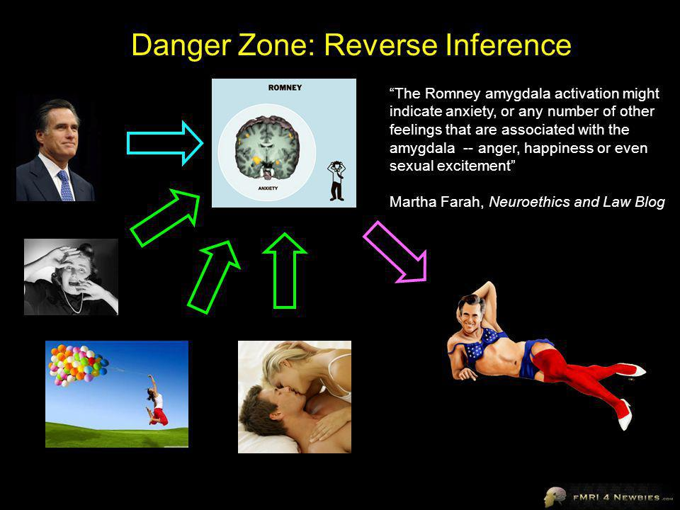 The Romney amygdala activation might indicate anxiety, or any number of other feelings that are associated with the amygdala -- anger, happiness or even sexual excitement Martha Farah, Neuroethics and Law Blog Danger Zone: Reverse Inference