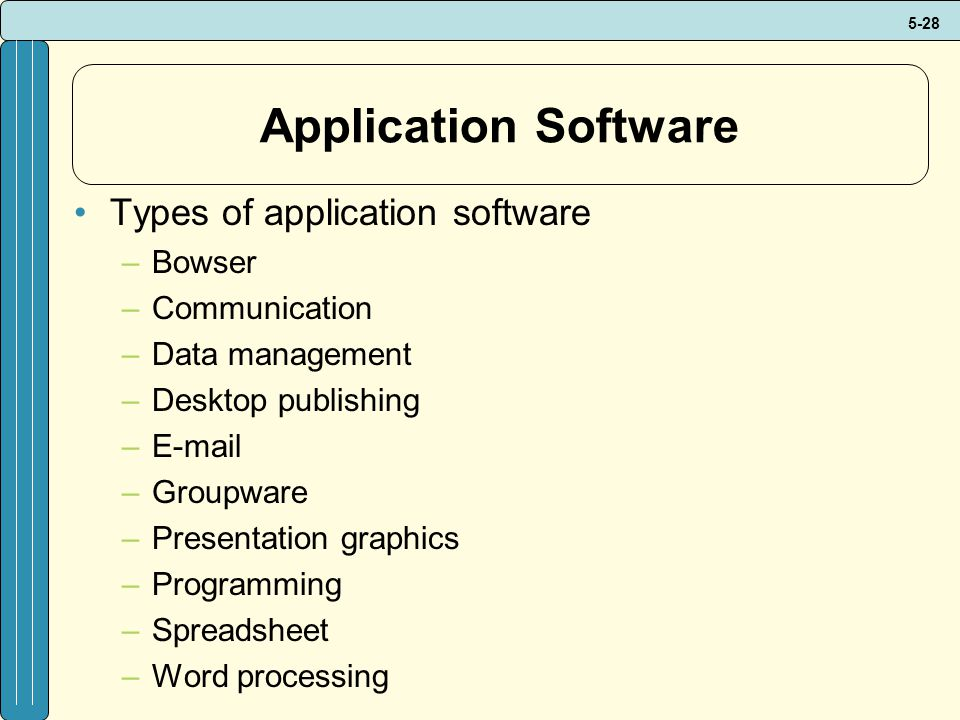 5-28 Application Software Types of application software –Bowser –Communication –Data management –Desktop publishing –E-mail –Groupware –Presentation graphics –Programming –Spreadsheet –Word processing