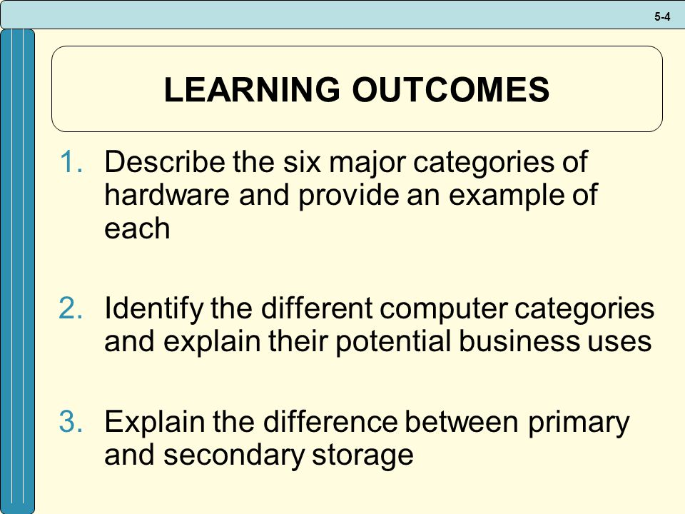 5-4 LEARNING OUTCOMES 1.Describe the six major categories of hardware and provide an example of each 2.Identify the different computer categories and explain their potential business uses 3.Explain the difference between primary and secondary storage