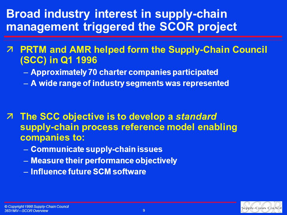 © Copyright 1998 Supply-Chain Council 3651MVSCOR Overview 9 Broad industry interest in supply-chain management triggered the SCOR project äPRTM and AMR helped form the Supply-Chain Council (SCC) in Q1 1996 –Approximately 70 charter companies participated –A wide range of industry segments was represented äThe SCC objective is to develop a standard supply-chain process reference model enabling companies to: –Communicate supply-chain issues –Measure their performance objectively –Influence future SCM software