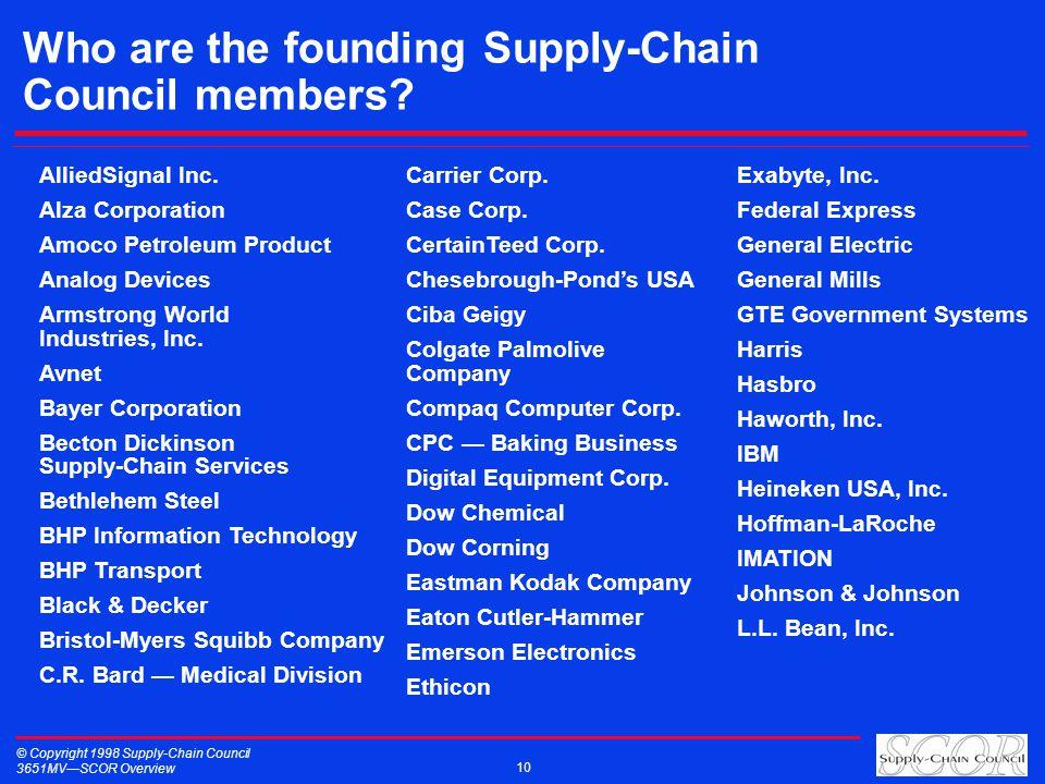 © Copyright 1998 Supply-Chain Council 3651MVSCOR Overview 10 Who are the founding Supply-Chain Council members? AlliedSignal Inc. Alza Corporation Amo