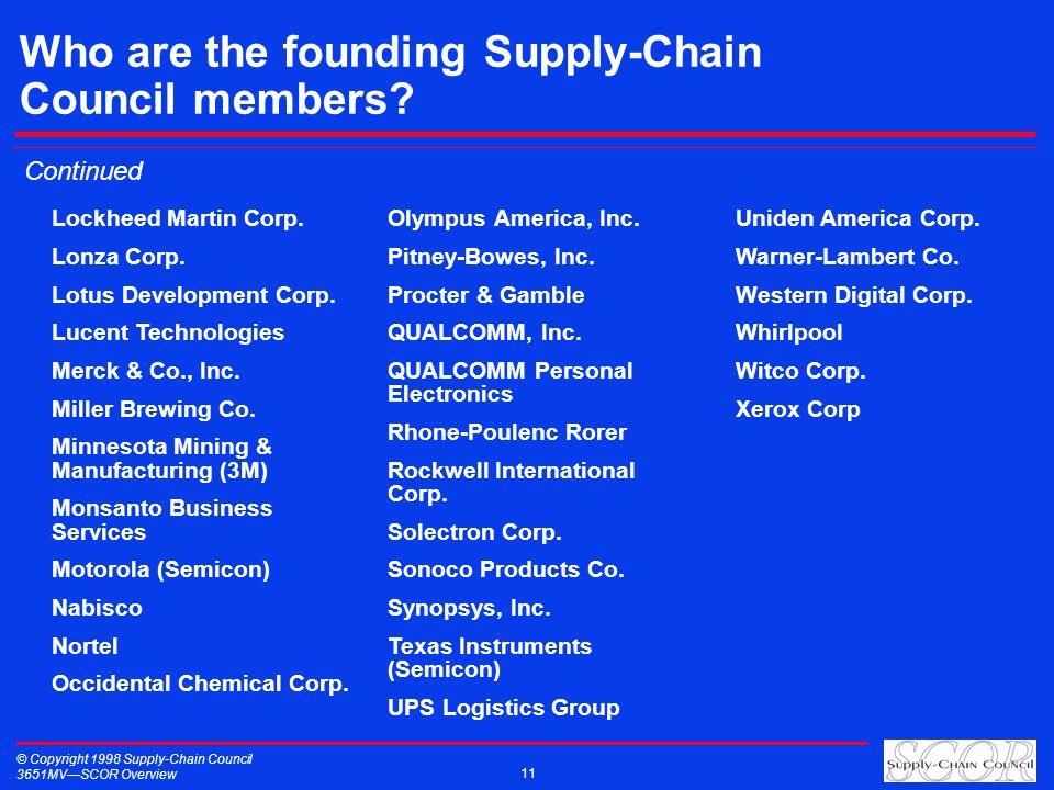 © Copyright 1998 Supply-Chain Council 3651MVSCOR Overview 11 Who are the founding Supply-Chain Council members? Lockheed Martin Corp. Lonza Corp. Lotu