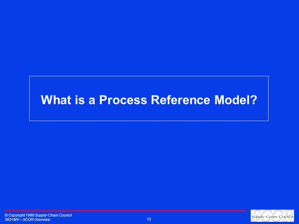 What is a Process Reference Model © Copyright 1998 Supply-Chain Council 3651MVSCOR Overview 13