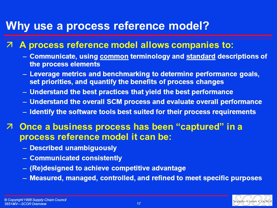 © Copyright 1998 Supply-Chain Council 3651MVSCOR Overview 17 Why use a process reference model? äA process reference model allows companies to: –Commu
