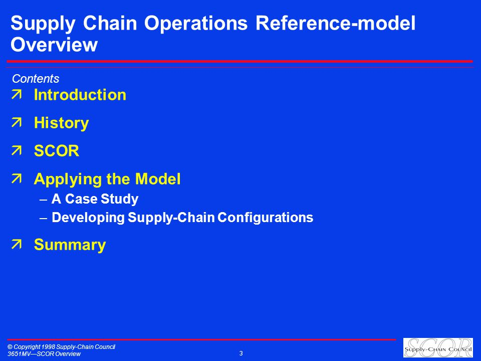 © Copyright 1998 Supply-Chain Council 3651MVSCOR Overview 3 Supply Chain Operations Reference-model Overview äIntroduction äHistory äSCOR äApplying th