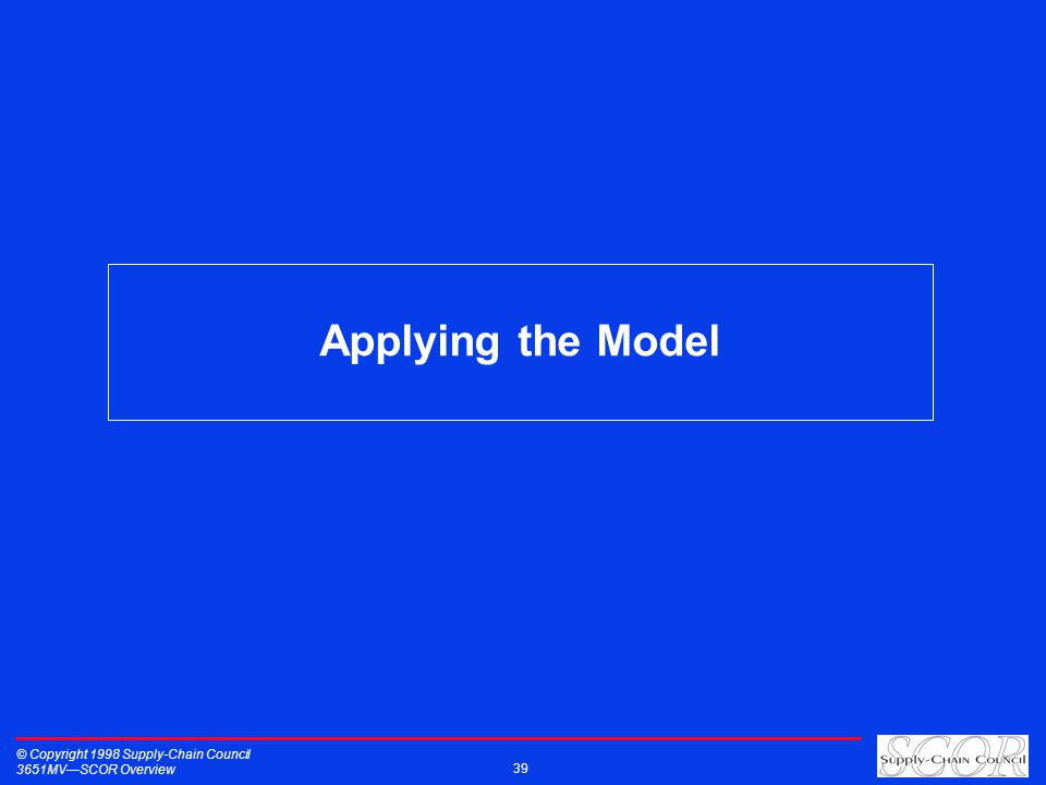 Applying the Model © Copyright 1998 Supply-Chain Council 3651MVSCOR Overview 39