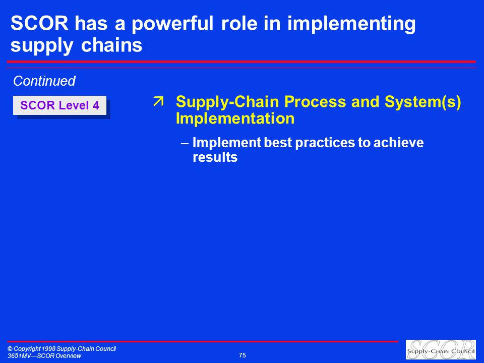 © Copyright 1998 Supply-Chain Council 3651MVSCOR Overview 75 SCOR Level 4 Continued äSupply-Chain Process and System(s) Implementation –Implement best