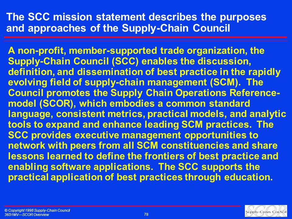 © Copyright 1998 Supply-Chain Council 3651MVSCOR Overview 78 The SCC mission statement describes the purposes and approaches of the Supply-Chain Council A non-profit, member-supported trade organization, the Supply-Chain Council (SCC) enables the discussion, definition, and dissemination of best practice in the rapidly evolving field of supply-chain management (SCM).