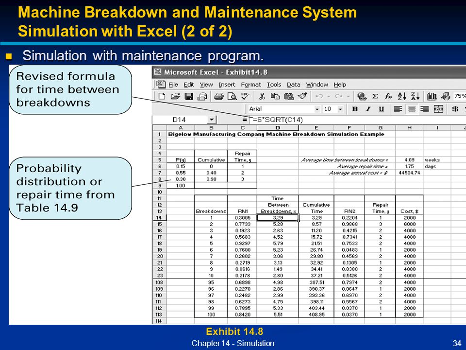 34Chapter 14 - Simulation Exhibit 14.8 Machine Breakdown and Maintenance System Simulation with Excel (2 of 2) Simulation with maintenance program. Si