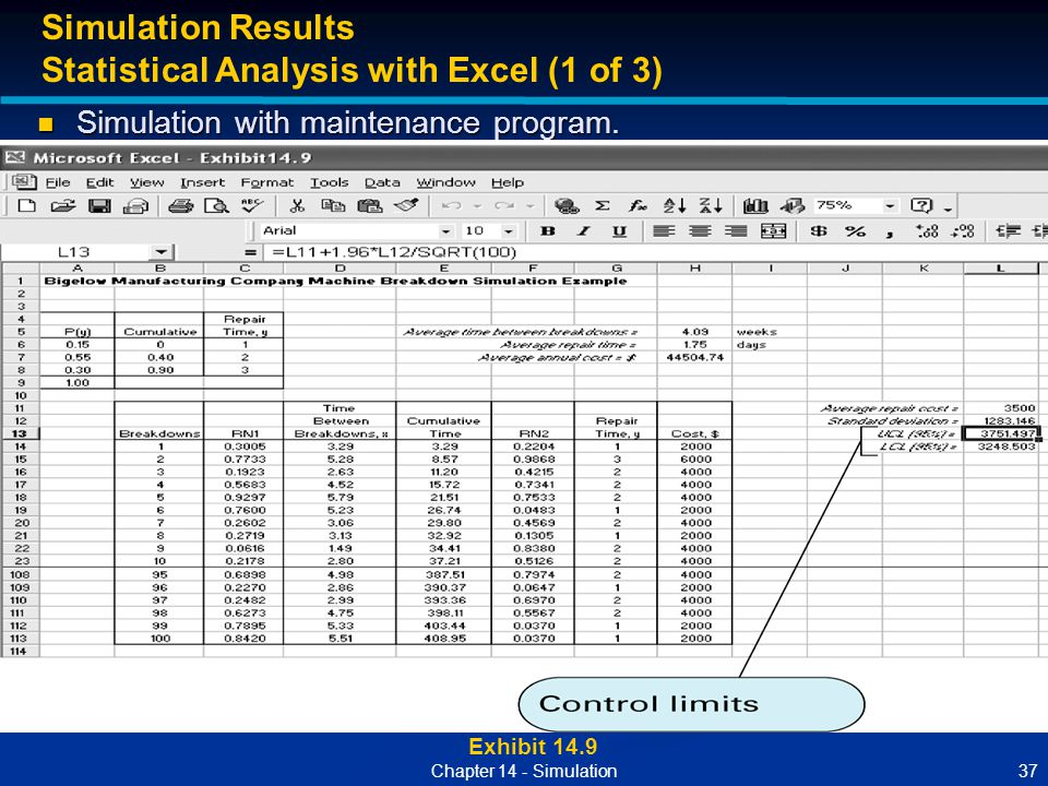 37Chapter 14 - Simulation Exhibit 14.9 Simulation Results Statistical Analysis with Excel (1 of 3) Simulation with maintenance program. Simulation wit