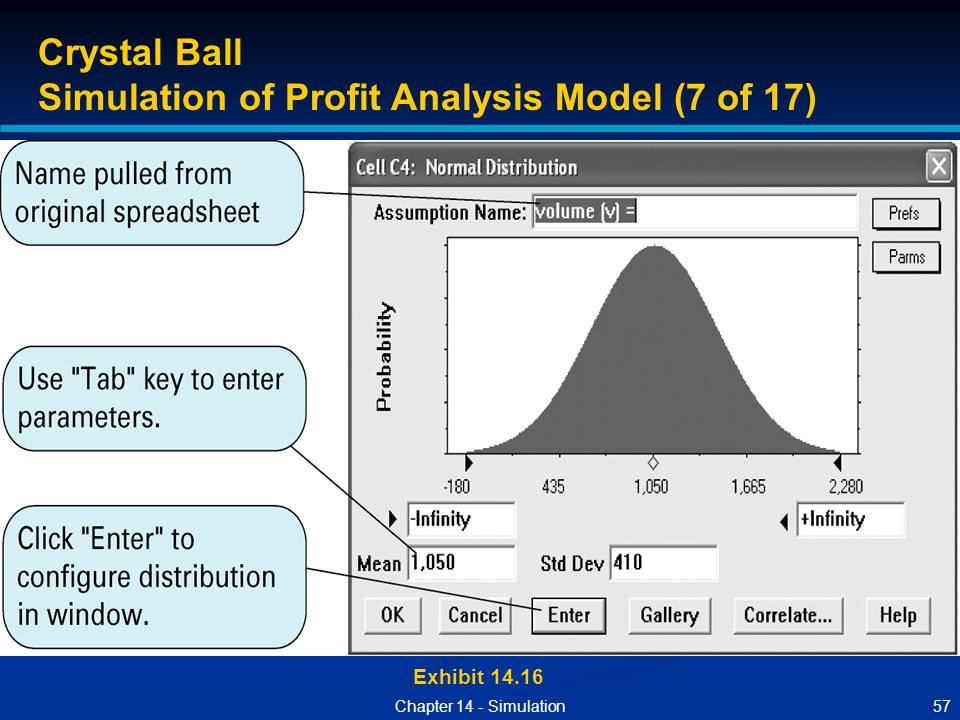 57Chapter 14 - Simulation Exhibit 14.16 Crystal Ball Simulation of Profit Analysis Model (7 of 17)