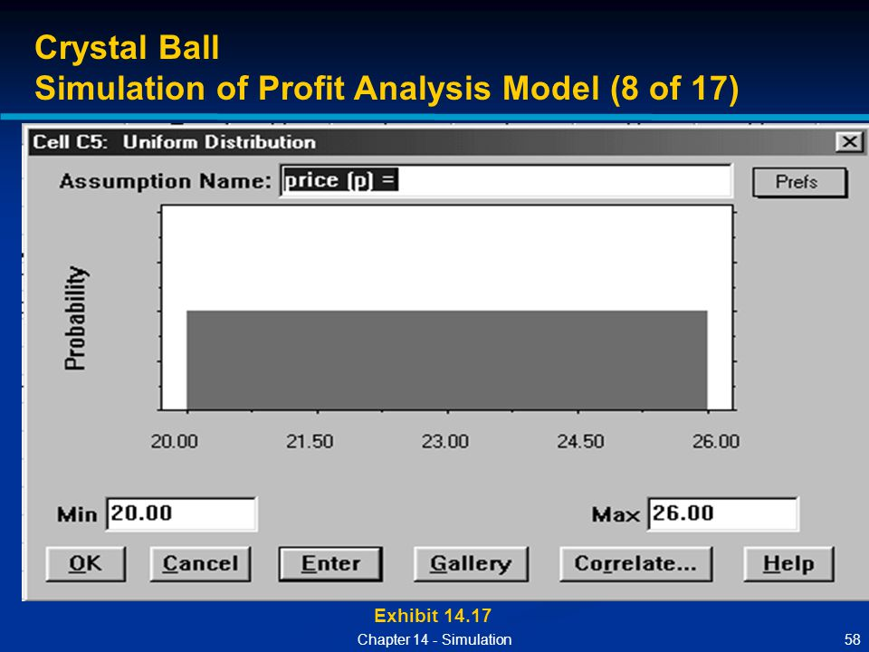 58Chapter 14 - Simulation Exhibit 14.17 Crystal Ball Simulation of Profit Analysis Model (8 of 17)