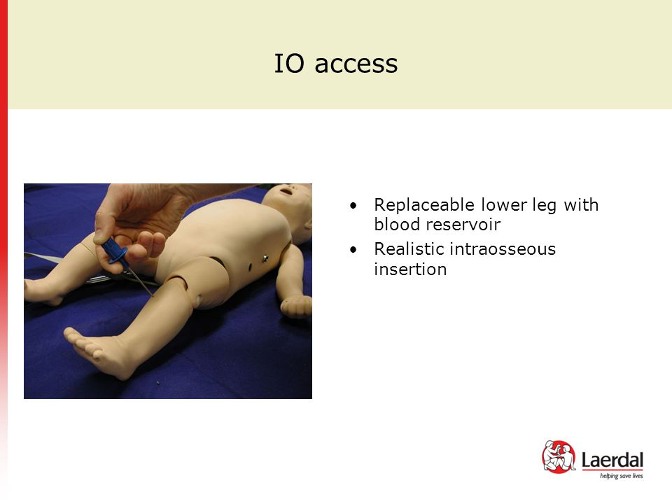 Replaceable lower leg with blood reservoir Realistic intraosseous insertion
